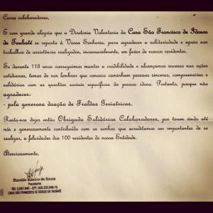Carta de agradecimento do asilo Casa São Francisco de Idosos de Taubaté pelas doações de fraldas geriátricas, no Café com Tênis de 12/04